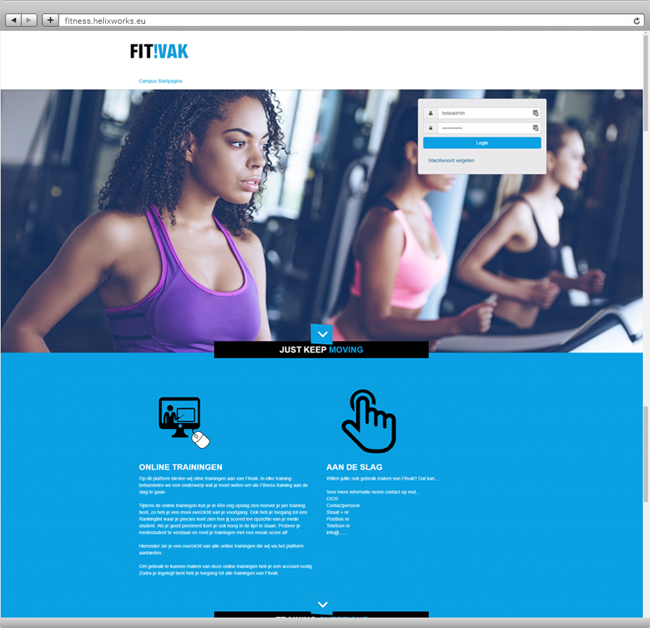 Leerplatform voor online fitness trainingen